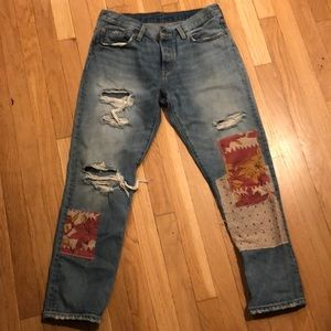 Levi patchwork boyfriend jeans